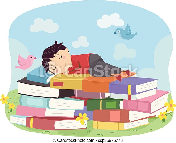 Kid Boy Book Stickman Sleep - csp35976778