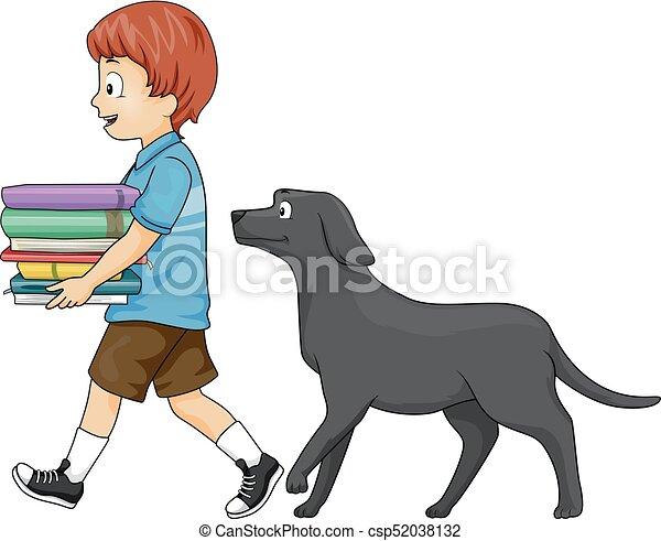 Kid Boy Books Follow Dog - csp52038132
