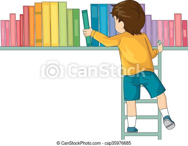 Kid Boy Books Ladder - csp35976685