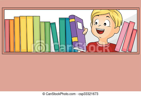 Kid Boy Books Library Selection - csp33321673