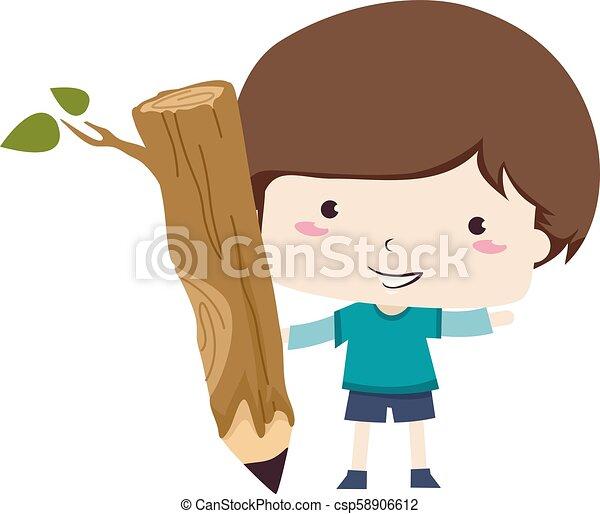 Kid Boy Branch Pencil Illustration - csp58906612