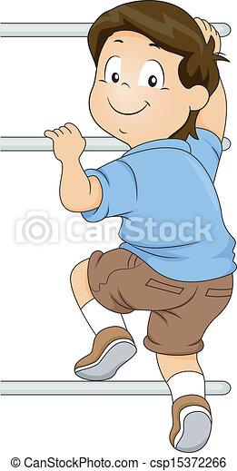Kid Boy Climbing a Monkey Bar - csp15372266