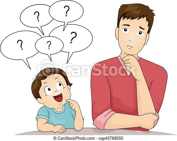 Kid Boy Dad Questions - csp43768555