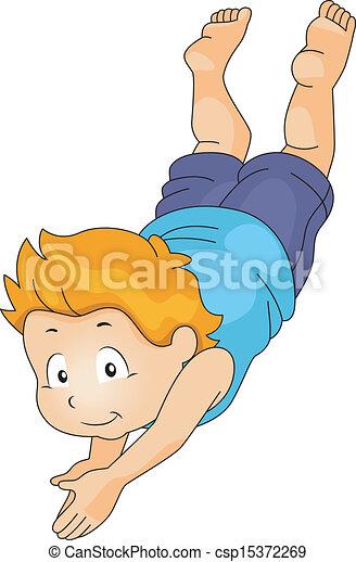 Kid Boy Diving Underwater - csp15372269
