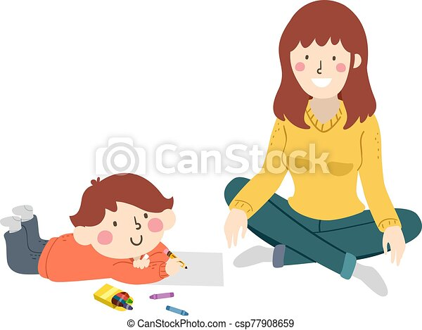 Kid Boy Draw Mom Model Illustration - csp77908659