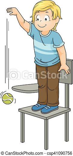 Kid boy drop ball chair. Illustration of a little boy ...