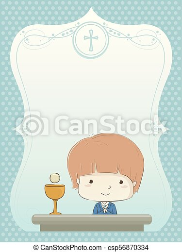kid boy first communion invitation illustration illustration of a