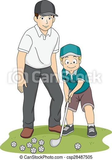 Kid Boy Golf Coach - csp28487505