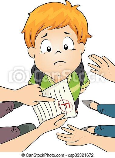 Kid Boy Grade Parents Fail - csp33321672