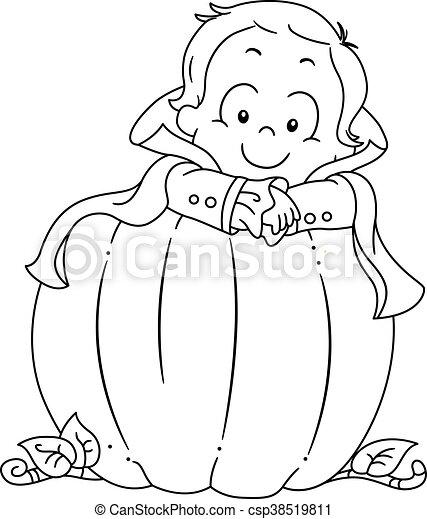 Kid Boy Halloween Pumpkin Coloring Page