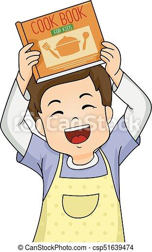 kid boy happy cook book illustration illustration of a kid rh canstockphoto com cook clipart black and white cook clipart black and white