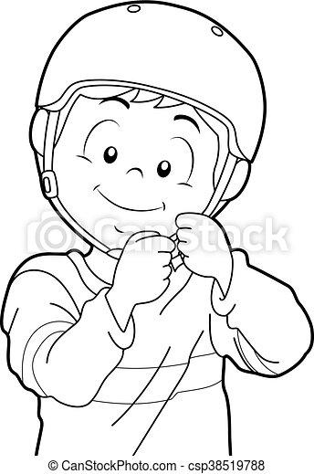 Kid Boy Helmet Coloring Page