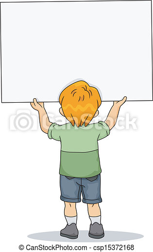 Kid Boy holding a Blank Board 2 - csp15372168