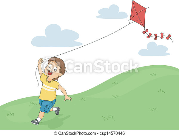 Kid Boy Kite Flying Illustration Of A Running Little Kid Boy While