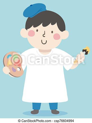 Kid Boy Paint Art Shirt Illustration - csp76604994
