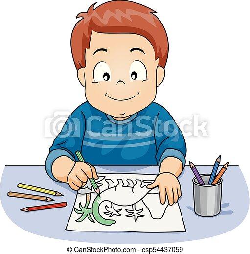 Kid Boy Pencil Coloring Activity Illustration