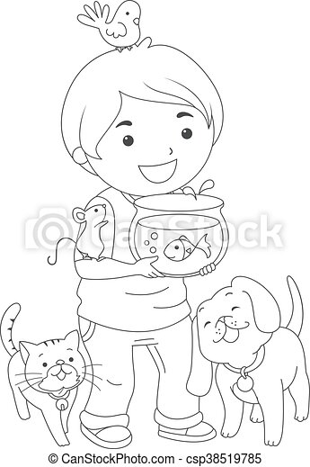 Kid Boy Pets Coloring Page - csp38519785