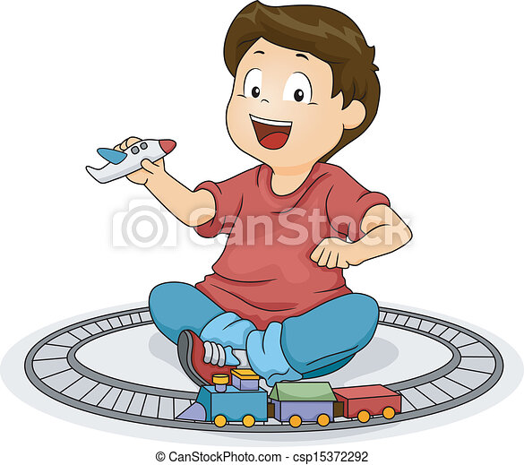 Kid Boy playing with Toys - csp15372292