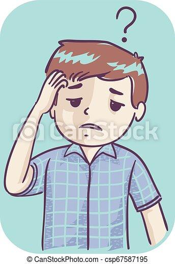 Kid Boy Poor Memory Illustration - csp67587195