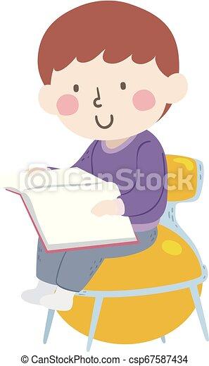 Outstanding Kid Boy Read Yoga Ball Chair Illustration Creativecarmelina Interior Chair Design Creativecarmelinacom