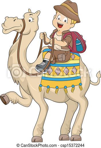 Kid Boy Riding a Camel