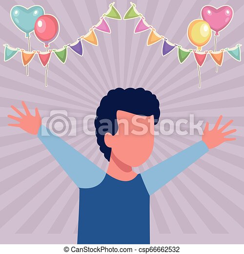 Kid boy running cartoon birthdays party - csp66662532