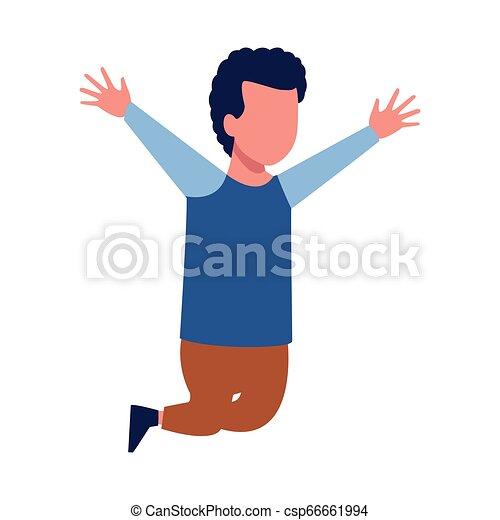 Kid boy running cartoon - csp66661994