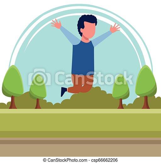Kid boy running cartoon - csp66662206