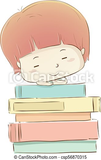 Kid Boy Sleep Books Illustration - csp56870315