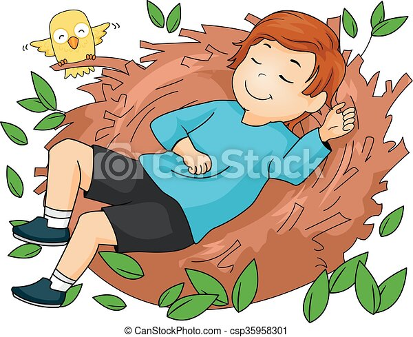 Kid Boy Sleeping On A Nest - csp35958301
