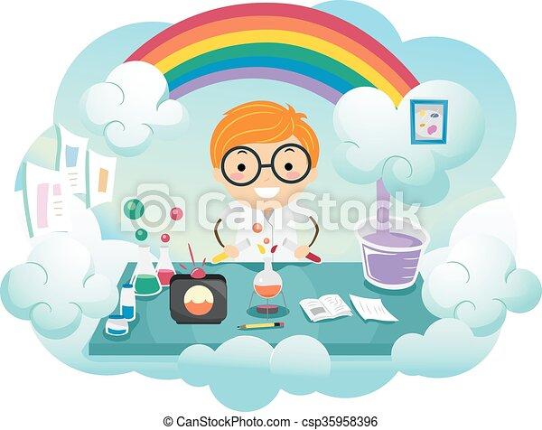 Kid Boy Stickman Rainbow Color Lab - csp35958396
