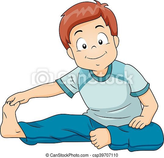 kid boy stretching illustration of a little boy doing little girl waking up clipart