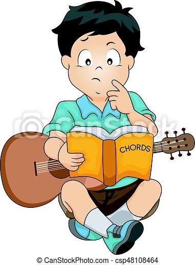 Kid boy study guitar chords. Illustration featuring a confused boy ...