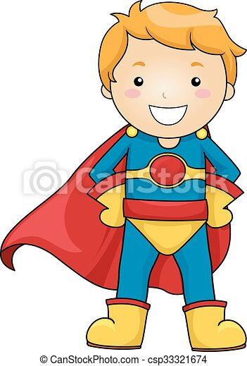 kid boy superhero costume pose illustration of a little boy rh canstockphoto com superhero kid clipart black and white Cute Superhero Clip Art