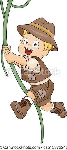 Kid Boy Swinging in Vine - csp15372245