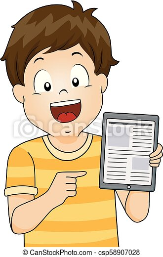 Kid Boy Tablet Web Articles Illustration