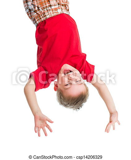 kid boy upside down isolated on white - csp14206329