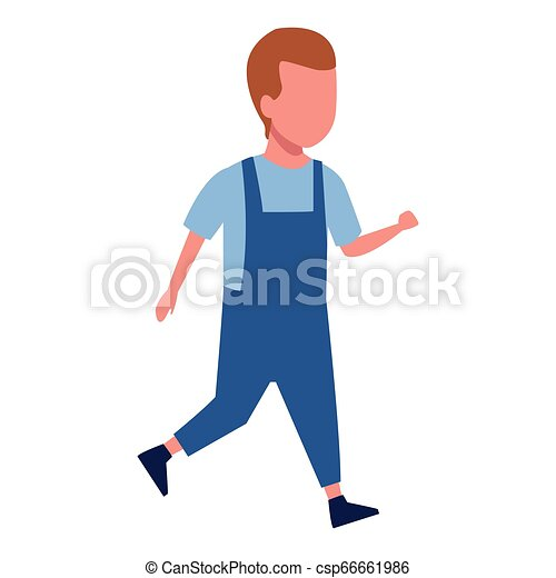 Kid boy walking cartoon - csp66661986