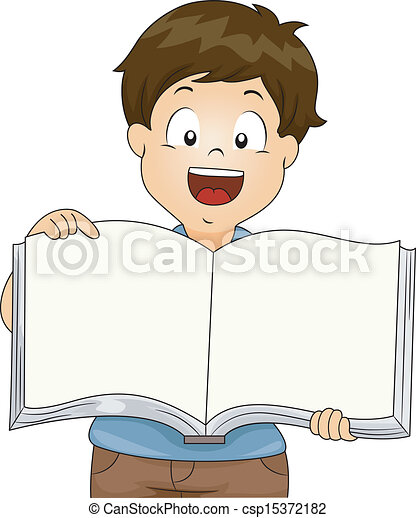 Kid Boy with an Open Blank Book - csp15372182