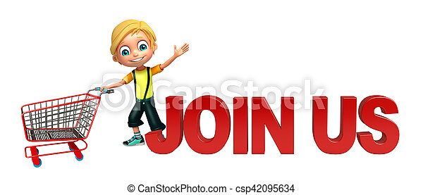 kid boy with join us sign & trolly - csp42095634