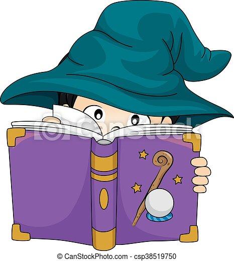 Kid Boy Wizard Book Study - csp38519750