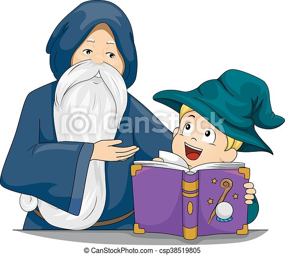 Kid Boy Wizard Book Teacher - csp38519805