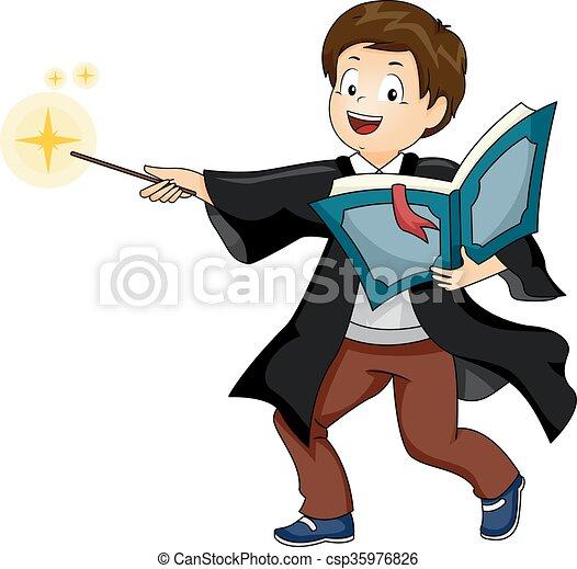Kid Boy Wizard Cast Spell - csp35976826