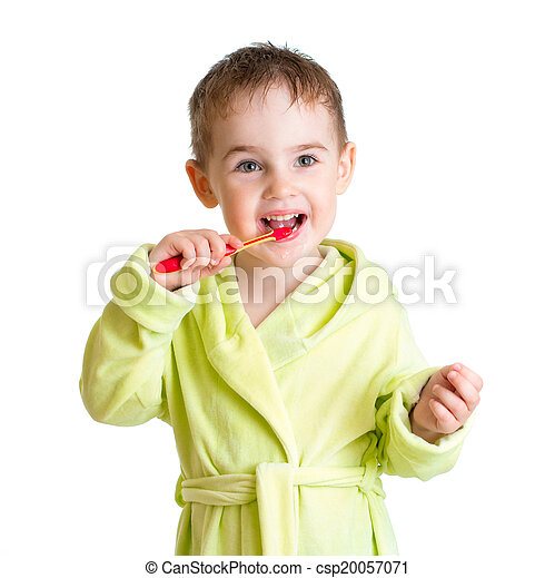 kid brushing teeth isolated on white - csp20057071
