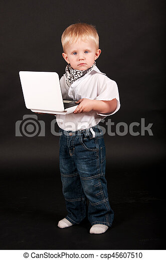 kid businessman with a laptop - csp45607510
