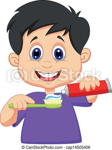 Kid cartoon squeezing tooth paste o - csp14505406
