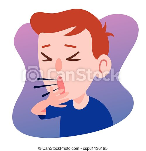 Kid Character Coughing seriously. Prevention against Virus and bacteria. Flat art vector . - csp81136195