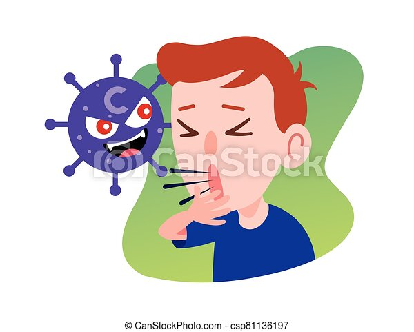 Kid Character Coughing seriously due to coronavirus. Prevention against Virus and bacteria. Flat art vector . - csp81136197