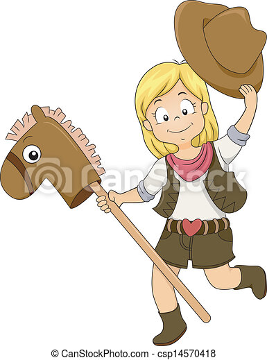 Kid Cowgirl With Toy Horse Illustration Of A Kid Cowgirl