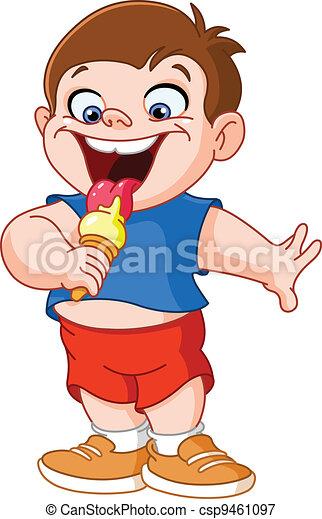 Kid eating icecream - csp9461097